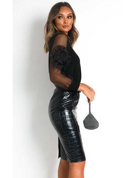 Arielle Sheer Sleeve Jumper In Black by Ikrush