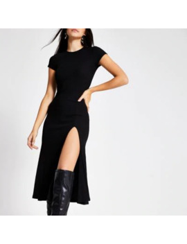 black-a-line-short-sleeve-midi-dress by river-island