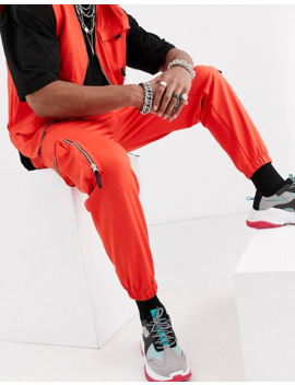 asos-design-two-piece-skinny-utility-cargo-sweatpants-in-orange-poly-tricot by asos-design