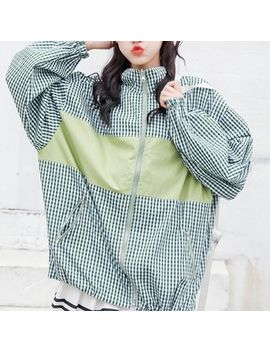 maisee---plaid-stand-collar-windbreaker by maisee