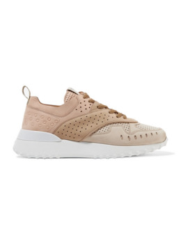 perforated-color-block-suede-sneakers by tods