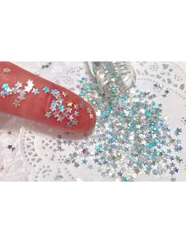 silver-holographic-stars-glitter,-solvent-resistant,-nail-glitter,-loose-sequins,-confetti by etsy