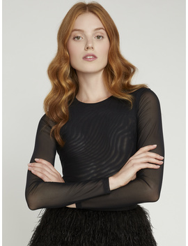 Nara Fitted Mesh Bodysuit by Alice And Olivia