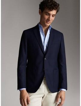 slim-fit-navy-blue-checked-wool-blazer by massimo-dutti