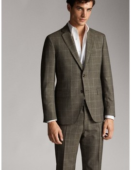slim-fit-checked-wool_linen-blazer by massimo-dutti