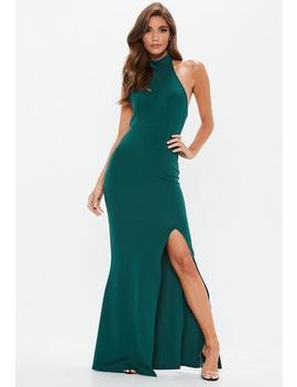 green-choker-maxi-dress by missguided