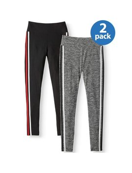 no-boundaries-juniors-side-stripe-print-&-solid-sueded-ankle-leggings-2pk-value-bundle by no-boundaries