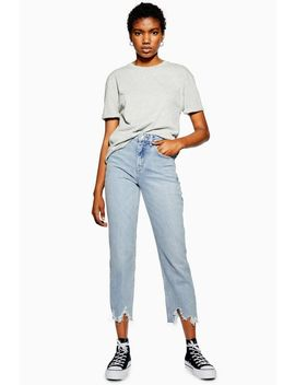 bleach-jagged-hem-straight-jeans by topshop