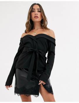 missguided-crepe-bardot-blazer-top-in-black by missguideds