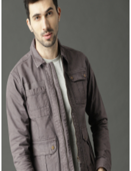 Men Grey Solid Denim Jacket by Roadster Fast And Furious