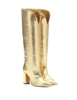 croc-effect-metallic-leather-boots by paris-texas