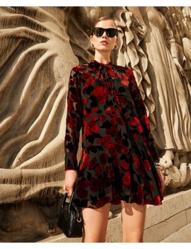 short-frill-dress-in-black-floral-print by the-kooples