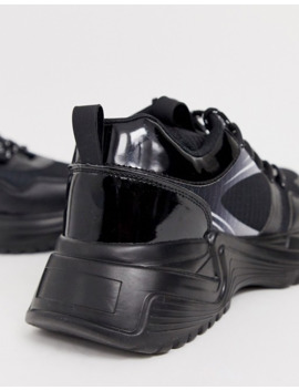 boohooman-chunky-soul-print-detail-trainer-in-black by boohooman