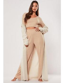 camel-rib-mix-and-match-wide-leg-loungewear-bottoms by missguided