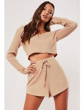 camel-rib-mix-and-match-loungewear-shorts by missguided