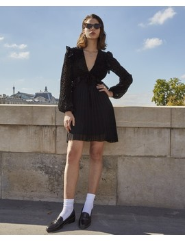 short-pleated-black-dress-with-lacing by the-kooples
