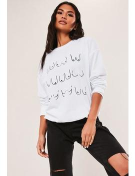 breast-cancer-awareness-white-repeat-breast-print-sweatshirt by missguided