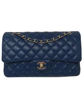 double-flap-2018-classic-lambskin-with-gold-hardware-blue-leather-shoulder-bag by chanel
