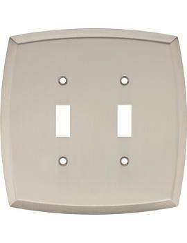 amherst-decorative-double-light-switch-cover,-satin-nickel by hampton-bay