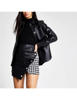 black-houndstooth-print-wrap-mini-skirt by river-island