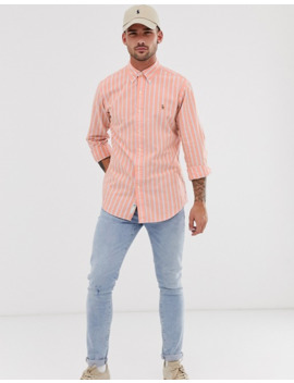 polo-ralph-lauren-stripe-oxford-shirt-custom-regular-fit-button-down-player-logo-in-orange by polo-ralph-lauren