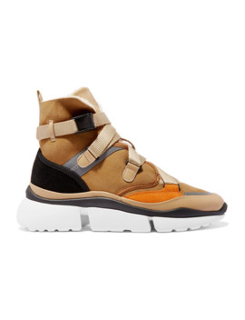 sonnie-shearling-lined-suede-and-leather-high-top-sneakers by chloé