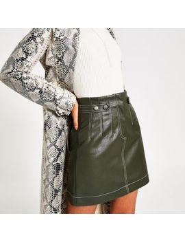 khaki-contrast-stitch-mini-skirt by river-island