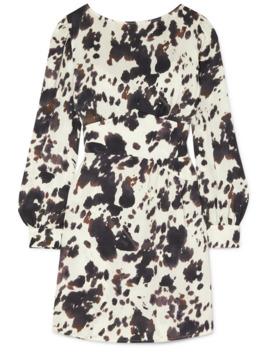 gathered-cow-print-satin-twill-mini-dress by alexachung