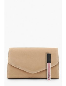 suedette-envelope-clutch-bag-&-chain by boohoo