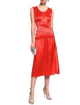 ruched-satin-midi-dress by helmut-lang