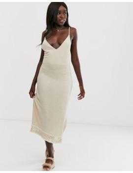 asos-design-marl-midi-dress-with-tassel-hem by asos-design