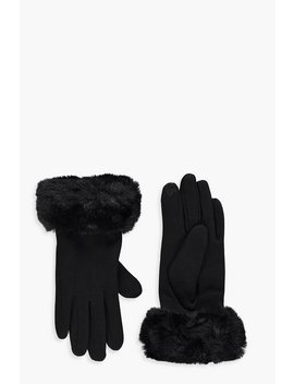 faux-fur-trim-glove by boohoo