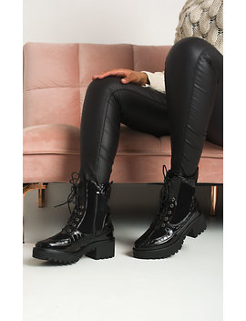 Roxie Buckle Lace Up Biker Boots In Black by Ikrush