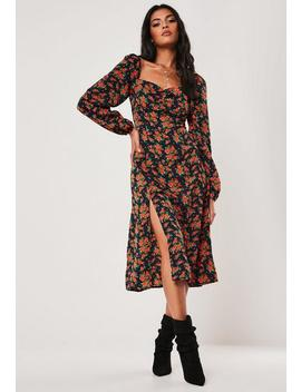 navy-floral-print-milkmaid-midi-dress by missguided