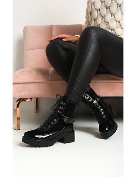 Rosa Buckle Lace Up Biker Boots In Black by Ikrush