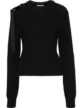 cutout-buckled-ribbed-cotton-sweater by helmut-lang
