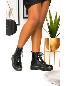Kenny Lace Up Biker Boots In Black Pat by Ikrush