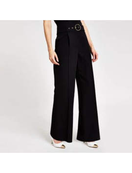 black-wide-leg-belted-trousers by river-island