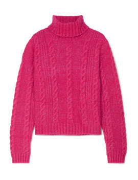 cropped-metallic-cable-knit-turtleneck-sweater by versace