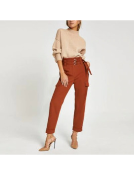 rust-belted-utility-peg-trousers by river-island