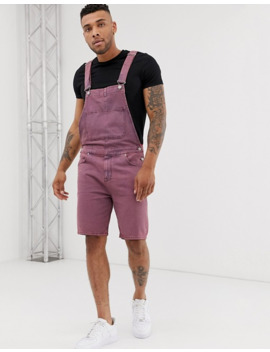 asos-design-denim-dungaree-shorts-in-pink-acid-wash by asos-design
