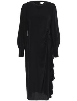 ruched-silk-crepe-de-chine-midi-dress by zimmermann