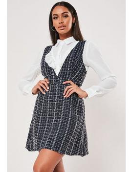 blue-check-2-in-1-pinafore-shirt-dress by missguided