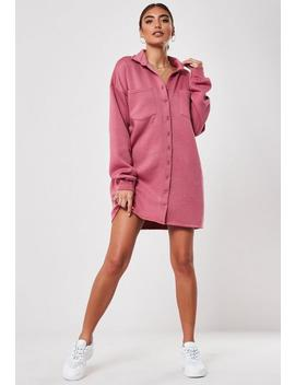 Pink Fleeceback Shirt Dress by Missguided