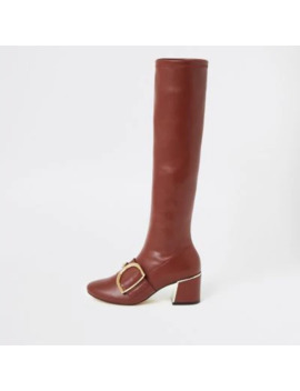 Burgundy Buckle Strap Knee High Boots by River Island