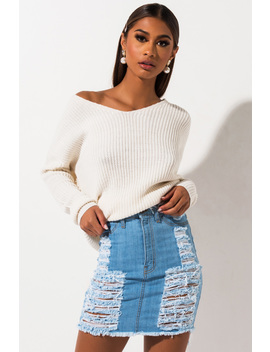 the-best-of-me-distressed-high-waisted-denim-skirt by akira