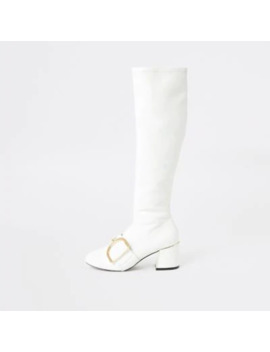 White Buckle Strap Knee Length Boots by River Island