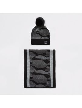 boys-black-prolific-camo-hat-and-scarf-set by river-island