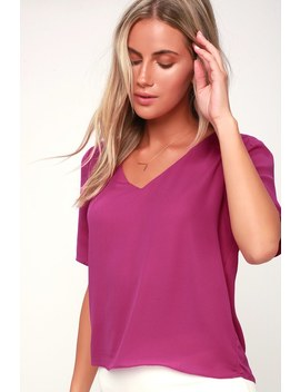 remedy-magenta-short-sleeve-top by lulus
