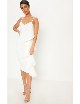white-bonded-scuba-ruffle-side-strappy-midi-dress by prettylittlething